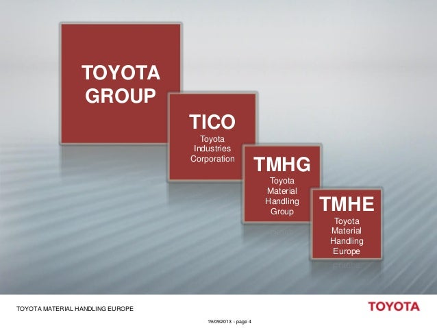 TOYOTA GROUP  TICO Toyota Industries Corporation  TMHG Toyota Material Handling Group  TMHE Toyota Material Handling Europ...