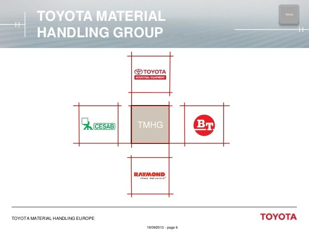 TOYOTA MATERIAL HANDLING GROUP  TMHG  TOYOTA MATERIAL HANDLING EUROPE 19/09/2013 - page 6  TMHG MAIN