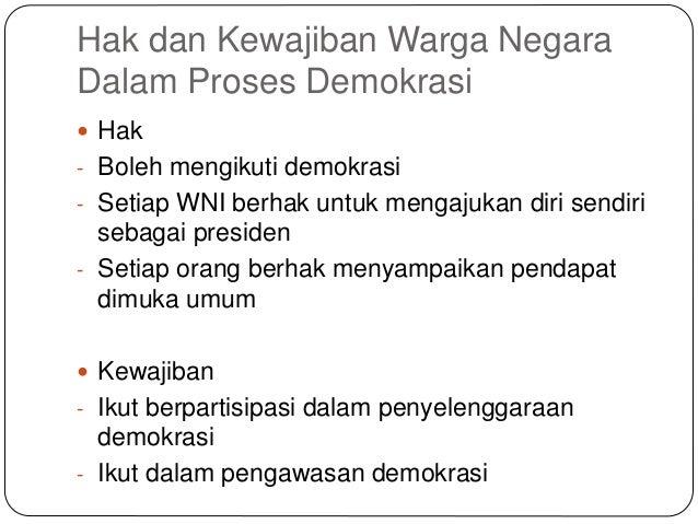 Pkn Hak Dan Kewajiban Warga Negara Dalam Demokrasi