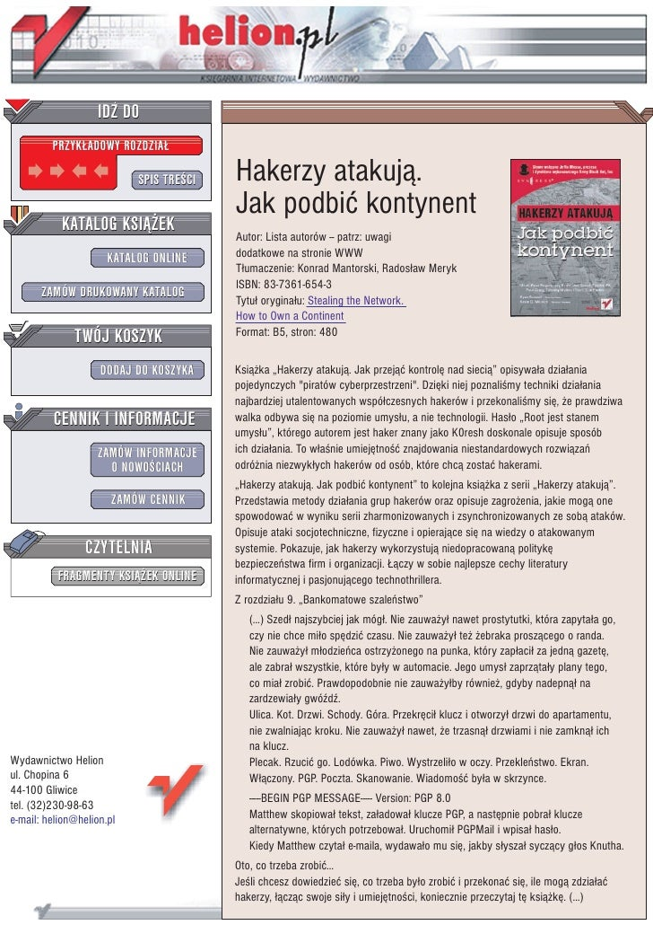 IDZ DO          PRZYK£ADOWY ROZDZIA£                             SPIS TRE CI   Hakerzy atakuj¹.                           ...