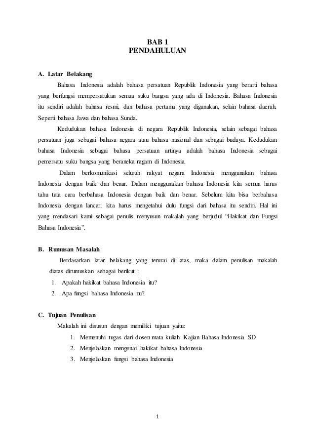 Makalah Hakikat Dan Fungsi Bahasa Indonesia