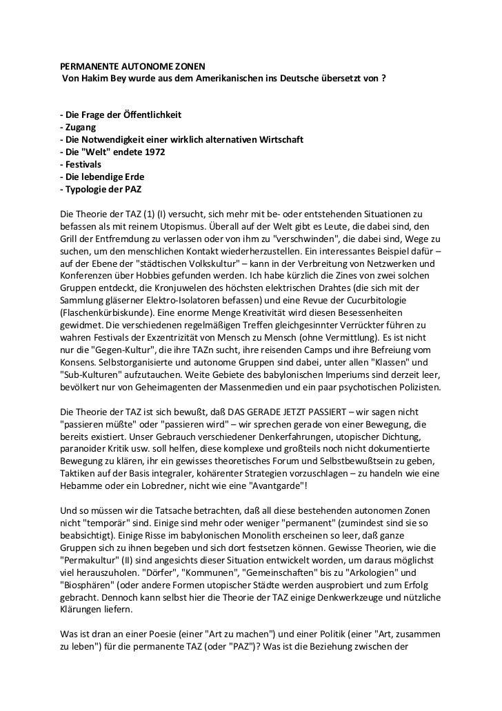 PERMANENTE AUTONOME ZONENVon Hakim Bey wurde aus dem Amerikanischen ins Deutsche übersetzt von ?- Die Frage der Öffentlich...