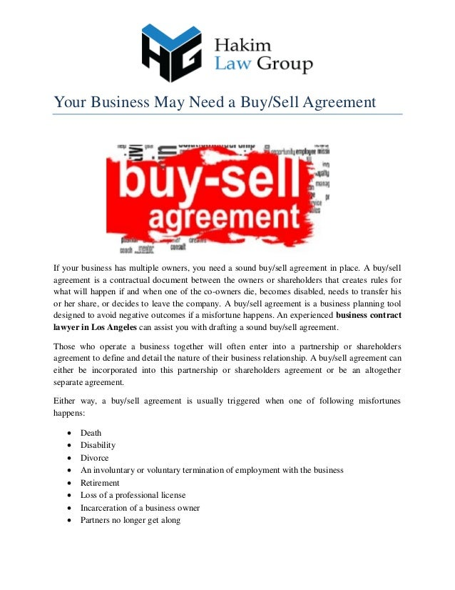 Your Business May Need A Buysell Agreement