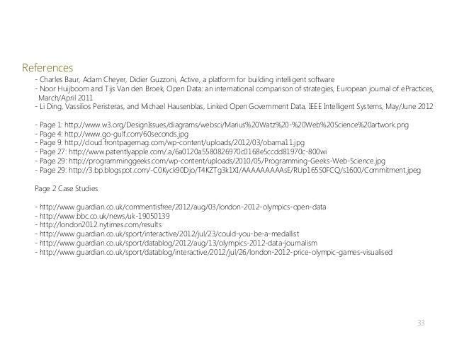 References  - Charles Baur, Adam Cheyer, Didier Guzzoni, Active, a platform for building intelligent software  - Noor Huij...