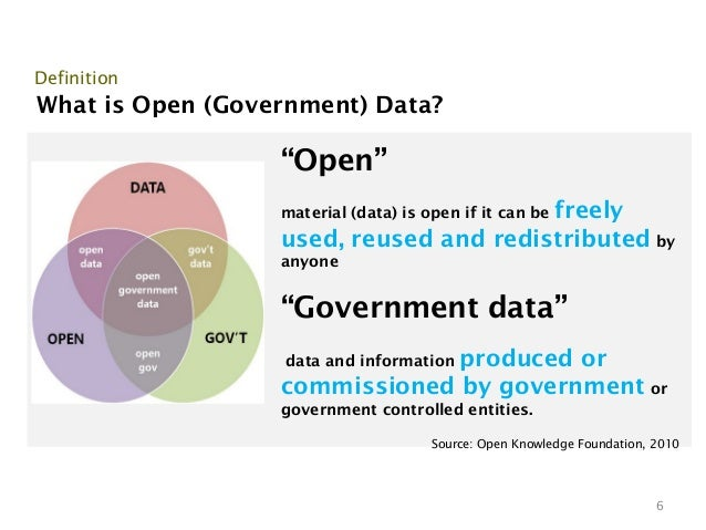 """DefinitionWhat is Open (Government) Data?                  """"Open""""                                        freely           ..."""