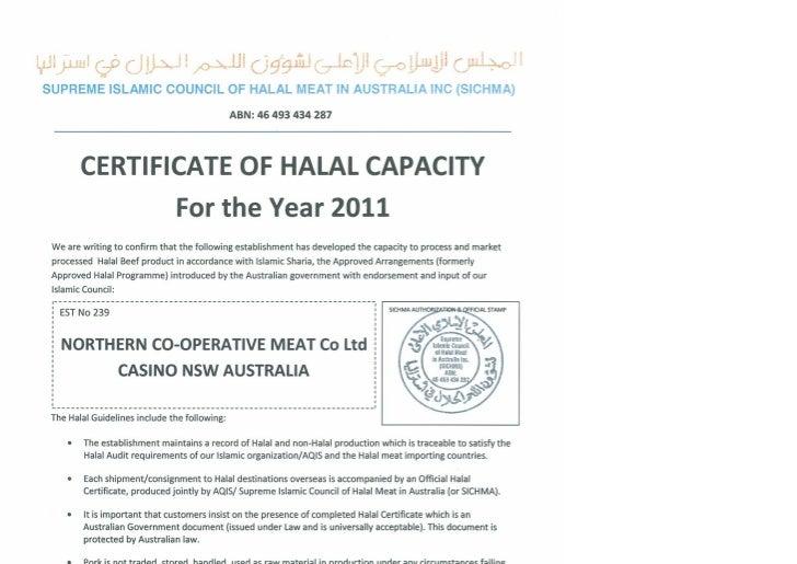 Halal  Certificate    Expires 31 12 11