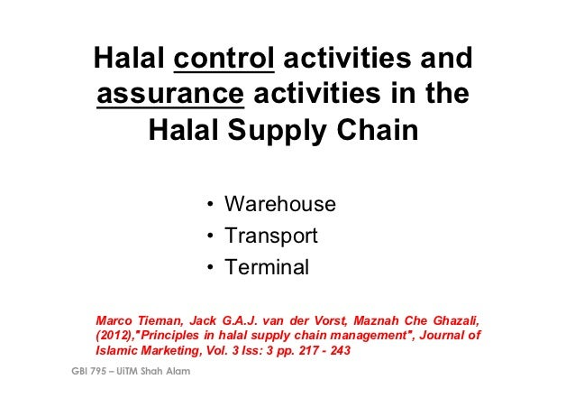 Halal control activities and    assurance activities in the       Halal Supply Chain                           • Warehous...