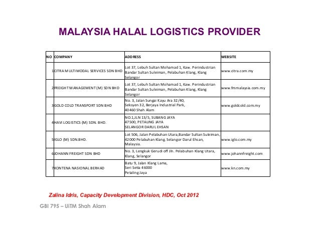 Halal logistics in malaysia and 5 continents