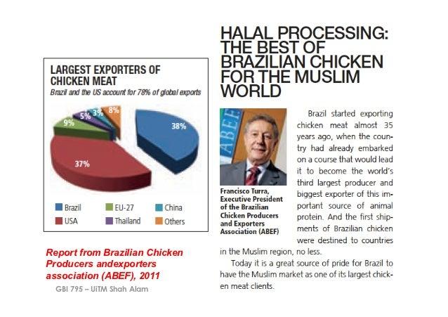 Report from Brazilian ChickenProducers andexportersassociation (ABEF), 2011  GBI 795 – UiTM Shah Alam