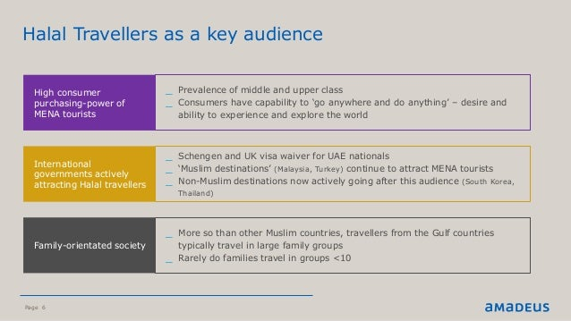 Page 6 ©2016AmadeusITGroupSA Halal Travellers as a key audience High consumer purchasing-power of MENA tourists _ Prevalen...