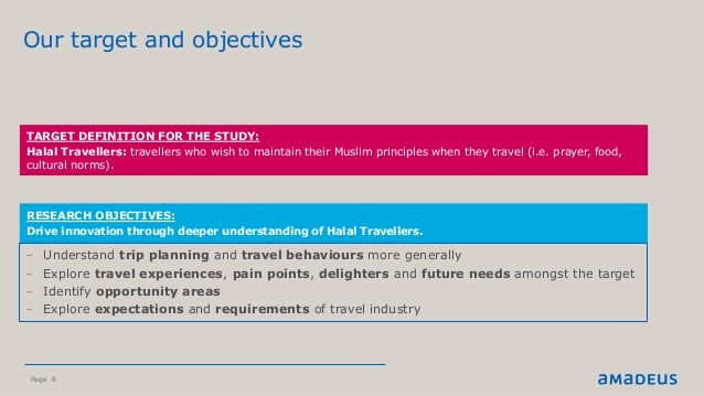 Page 8 ©2016AmadeusITGroupSA RESEARCH OBJECTIVES: Drive innovation through deeper understanding of Halal Travellers. Our t...
