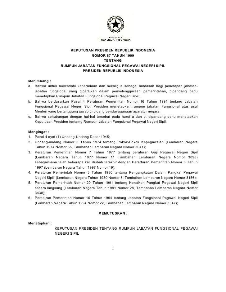 KEPUTUSAN PRESIDEN REPUBLIK INDONESIA                              NOMOR 87 TAHUN 1999                                   T...