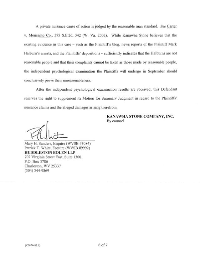 Motion for Summary Judgment by Kanawha Stone containing the depositio…