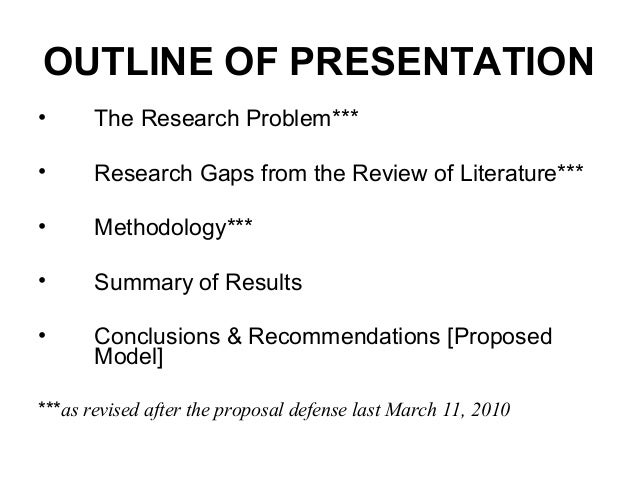 Outline for thesis presentation
