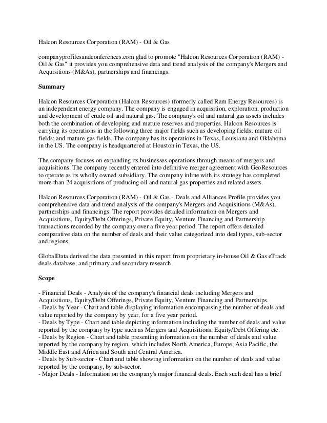 "Halcon Resources Corporation (RAM) - Oil & Gascompanyprofilesandconferences.com glad to promote ""Halcon Resources Corporat..."