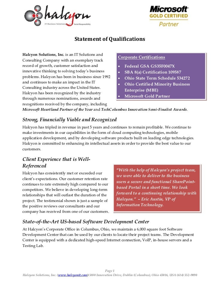 Statement of QualificationsHalcyon Solutions, Inc. is an IT Solutions and                                                 ...