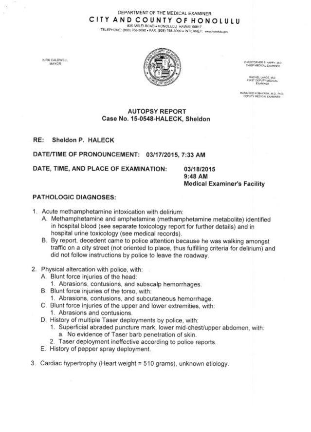 Sheldon Haleck autopsy report