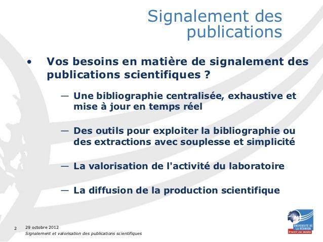 Signaler et valoriser vos publications scientifiques r Slide 2