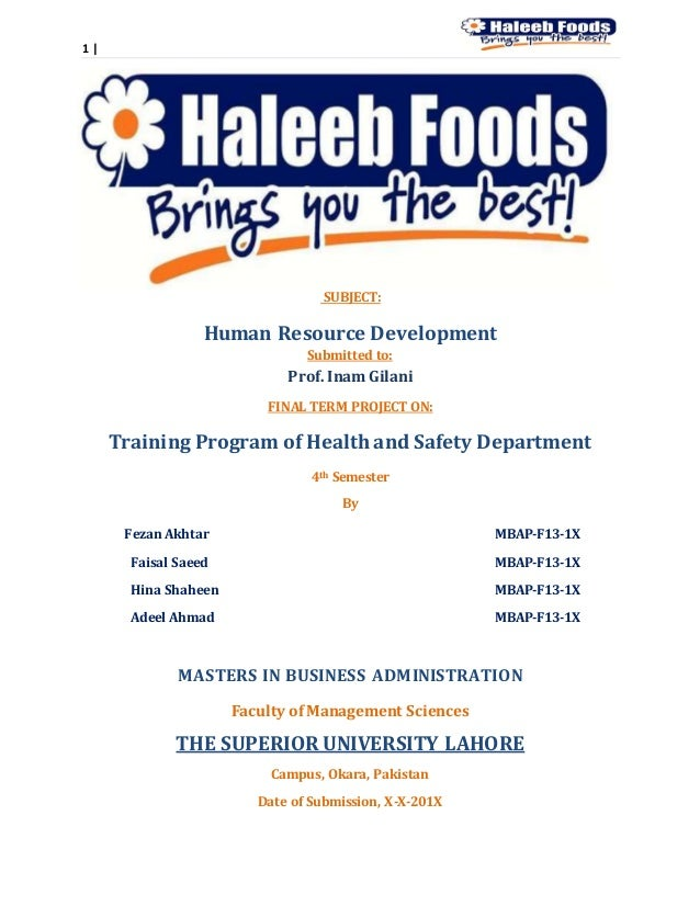 1 | SUBJECT: Human Resource Development Submitted to: Prof. Inam Gilani FINAL TERM PROJECT ON: Training Program of Health ...