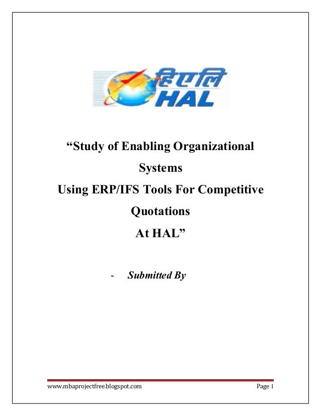A Project Report On Erp System In Hindustan Aeronautics