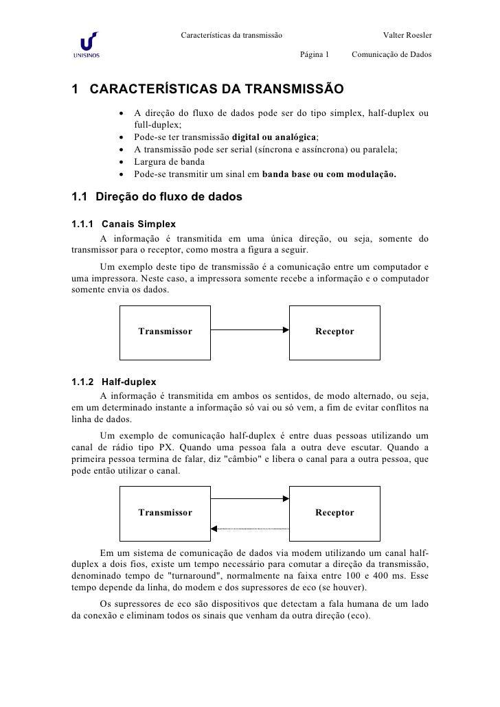 Características da transmissão                     Valter Roesler                                                         ...