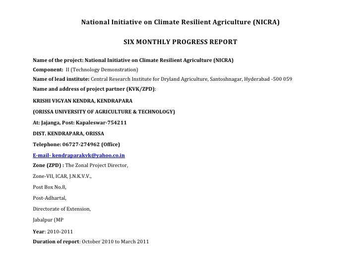 National Initiative on Climate Resilient Agriculture (NICRA)                                      SIX MONTHLY PROGRESS REP...