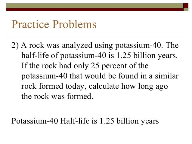 half life of rocks