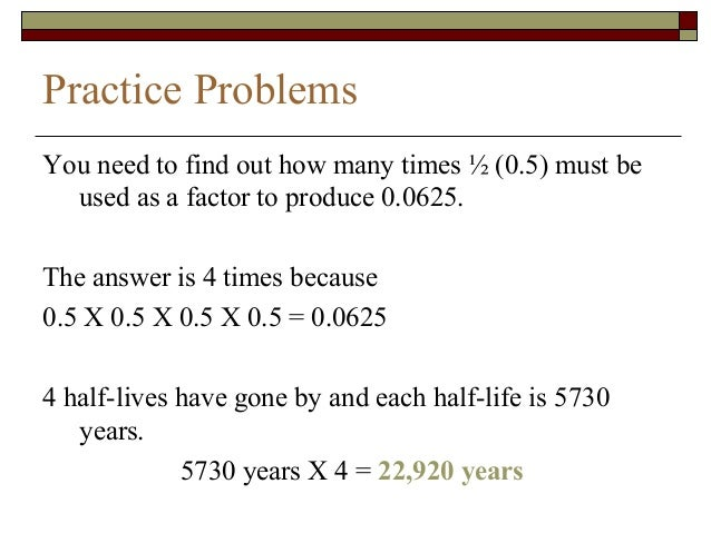 Half life problems worksheet answers