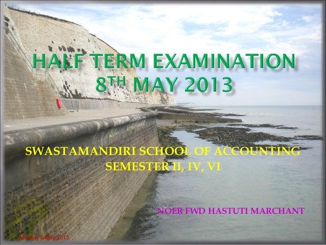 SWASTAMANDIRI SCHOOL OF ACCOUNTINGSEMESTER II, IV, VINOER FWD HASTUTI MARCHANTMonday 6 May 2013