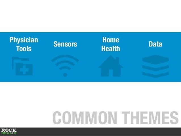 COMMON THEMES Physician Tools Home Health Sensors Data