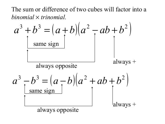 Factoring cubes 5 the sum or difference of two cubes will factor ccuart Image collections