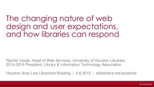 @vacekrae Rachel Vacek, Head of Web Services, University of Houston Libraries 2014-2015 President, Library & Information T...