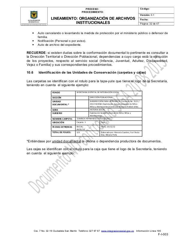 Lineamiento organizaci n de archivos institucionales 20 for Notificacion ministerio del interior