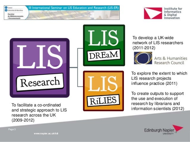 Meeting the challenges of LIS research: a national coalition approach Slide 3