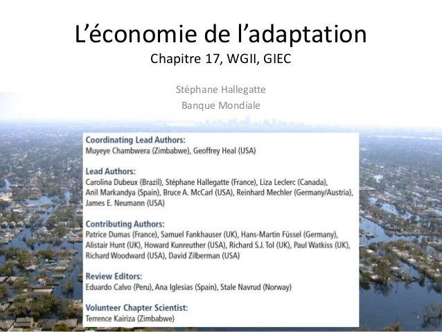 L'économie de l'adaptation Chapitre 17, WGII, GIEC Stéphane Hallegatte Banque Mondiale