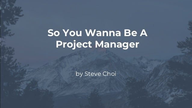 by Steve Choi So You Wanna Be A Project Manager