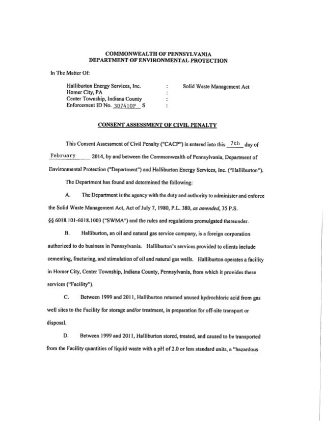 Consent Order from PA DEP Signed by Halliburton Admitting Guilt over HCl Storage/Treatment