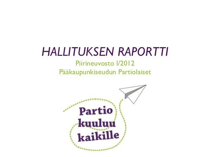 HALLITUKSEN RAPORTTI Piirineuvosto I/2012 Pääkaupunkiseudun Partiolaiset