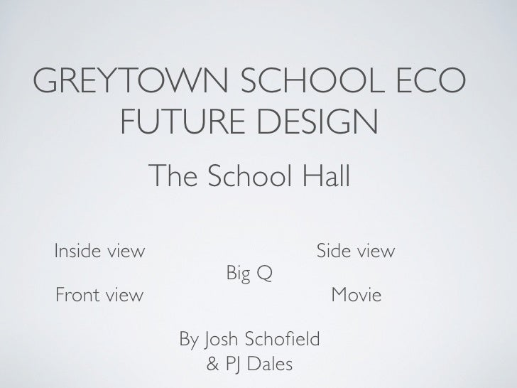 GREYTOWN SCHOOL ECO     FUTURE DESIGN               The School Hall  Inside view                    Side view             ...