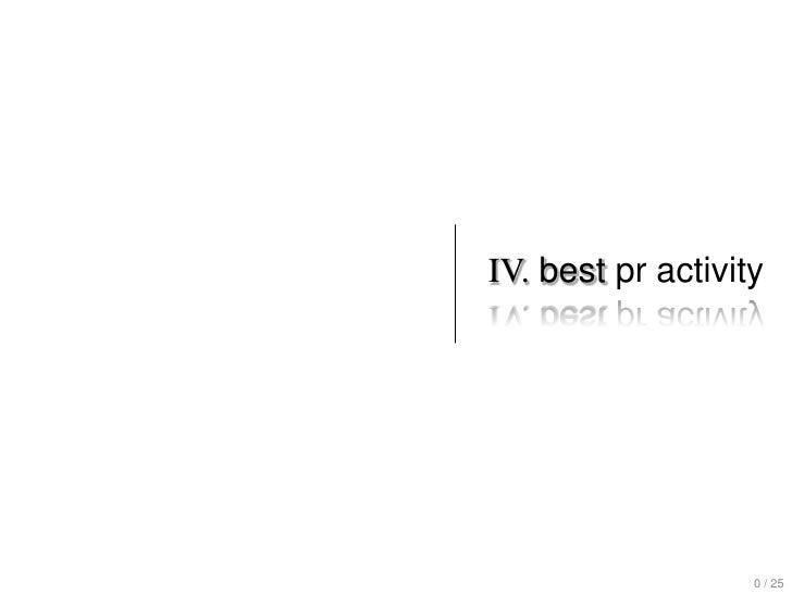 IV. best pr activity                   0 / 25