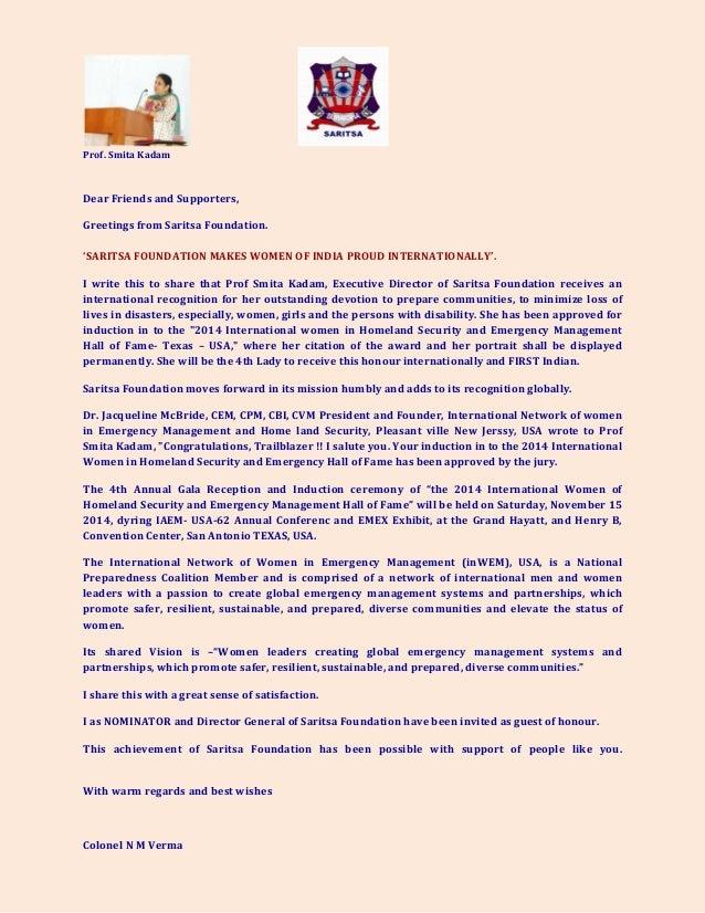 Prof.SmitaKadam  DearFriendsandSupporters, GreetingsfromSaritsaFounda...