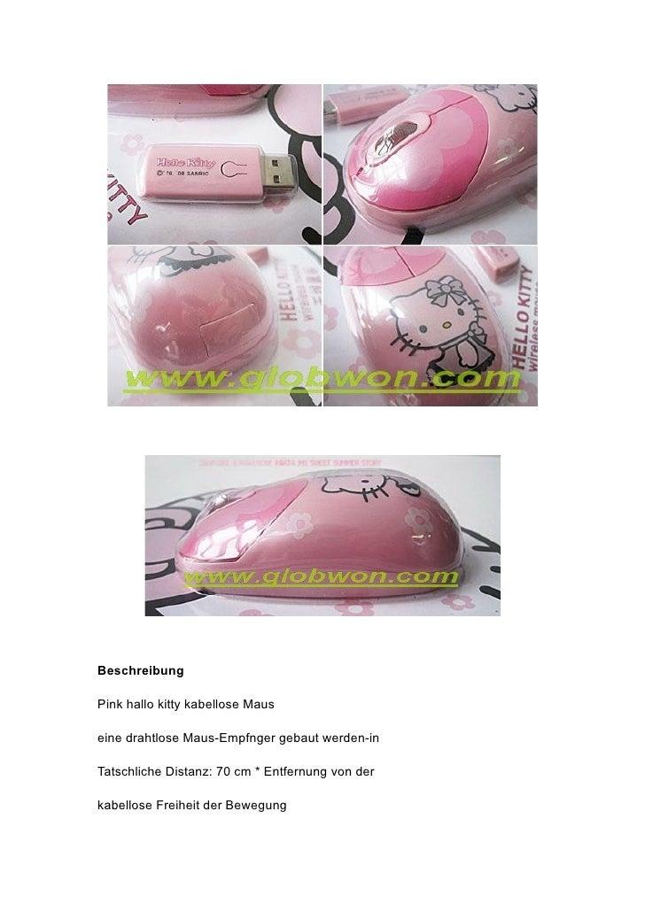 Beschreibung  Pink hallo kitty kabellose Maus  eine drahtlose Maus-Empfnger gebaut werden-in  Tatschliche Distanz: 70 cm *...
