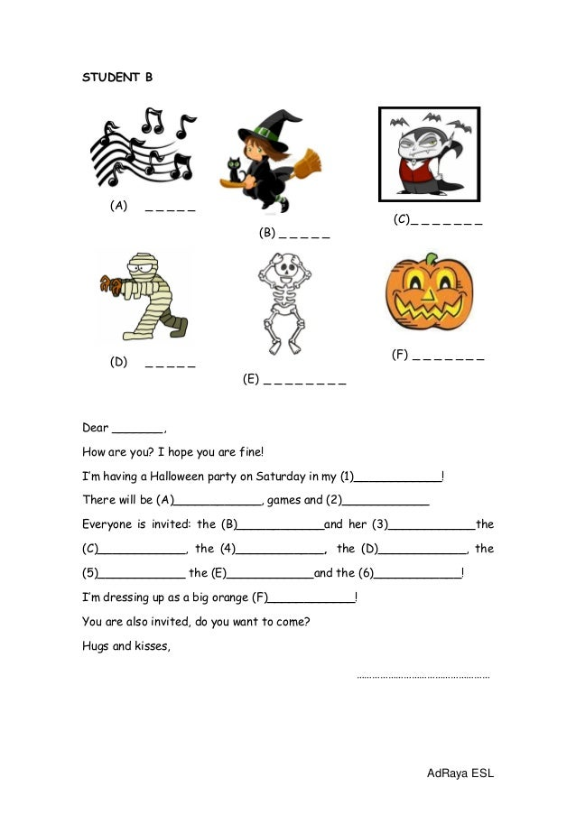 Halloween invitation worksheet in pairs stopboris Image collections