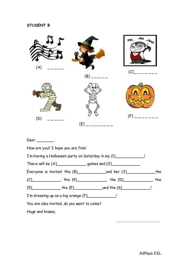 Halloween invitation worksheet in pairs