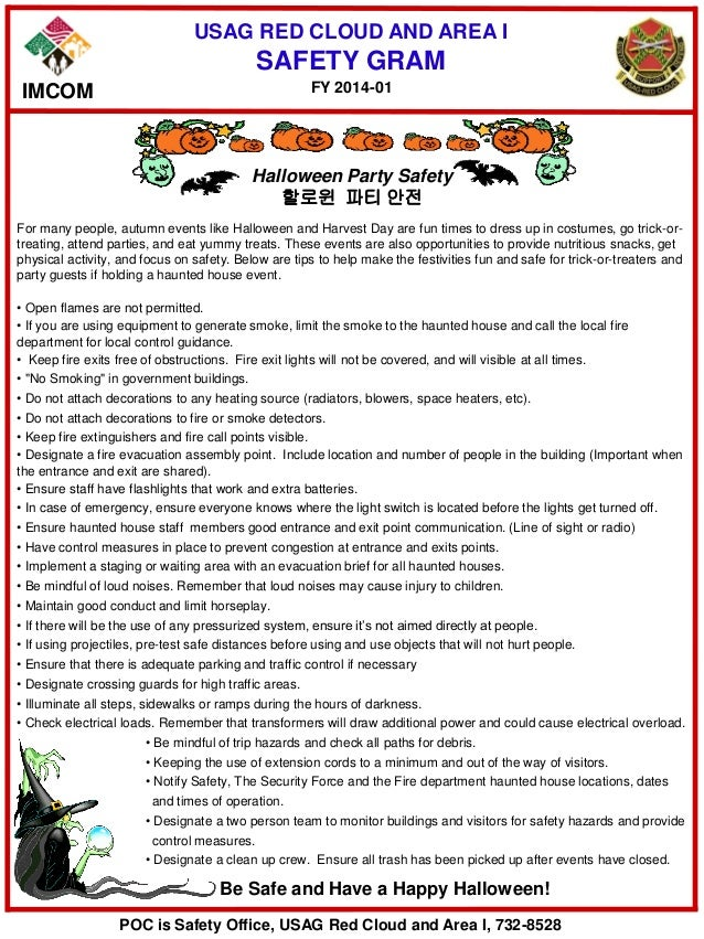 USAG RED CLOUD AND AREA I SAFETY GRAM Halloween Party Safety 할로윈 파티 안전 For many people, autumn events like Halloween and H...