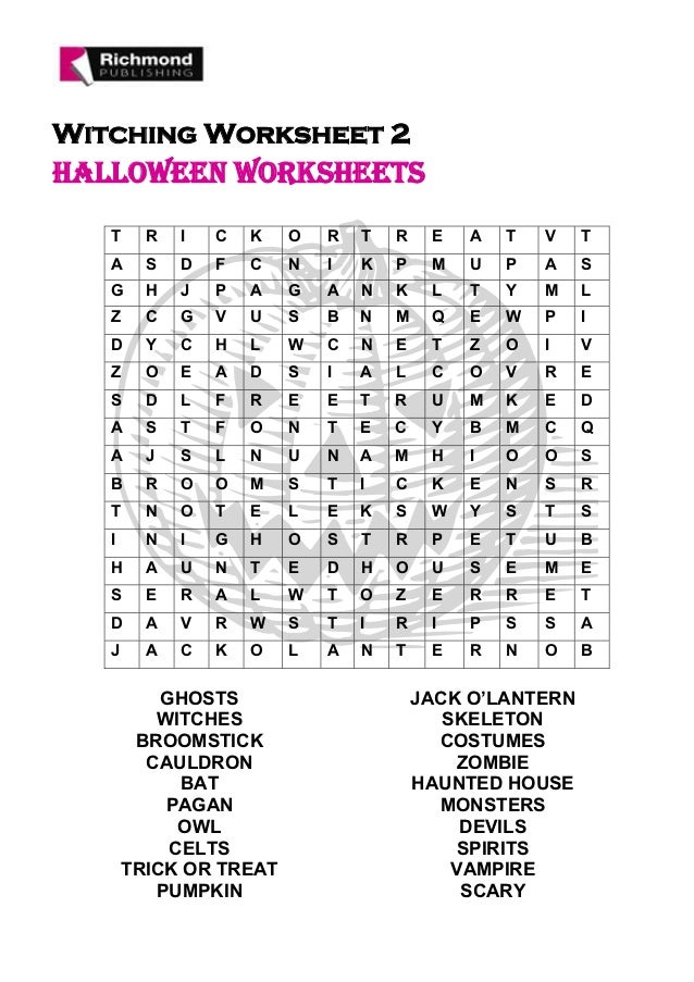 Printable Worksheets halloween homework worksheets : Halloween secondary worksheet