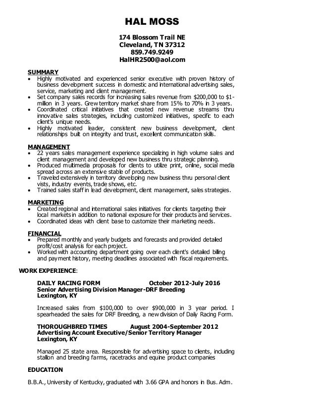 Hal Moss Resume