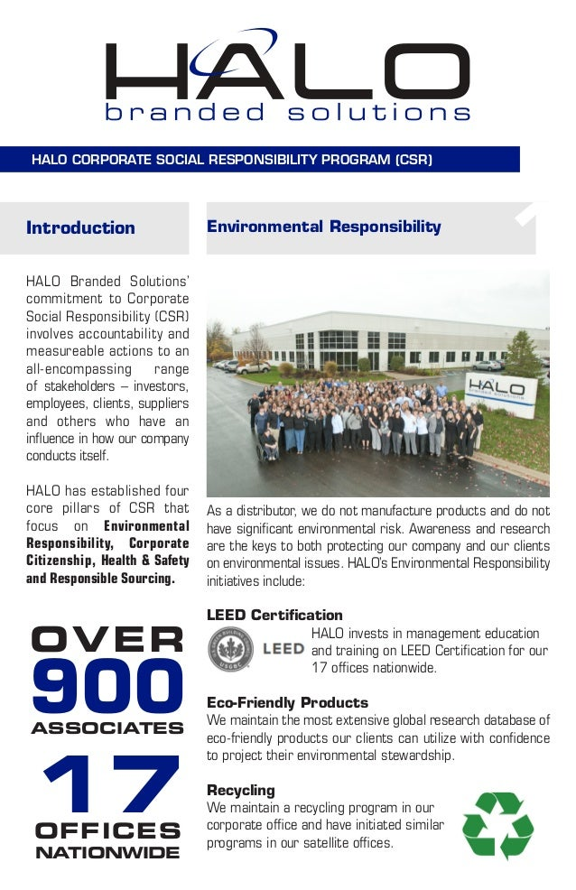 HALO CORPORATE SOCIAL RESPONSIBILITY PROGRAM (CSR) Introduction HALO Branded Solutions' commitment to Corporate Social Res...