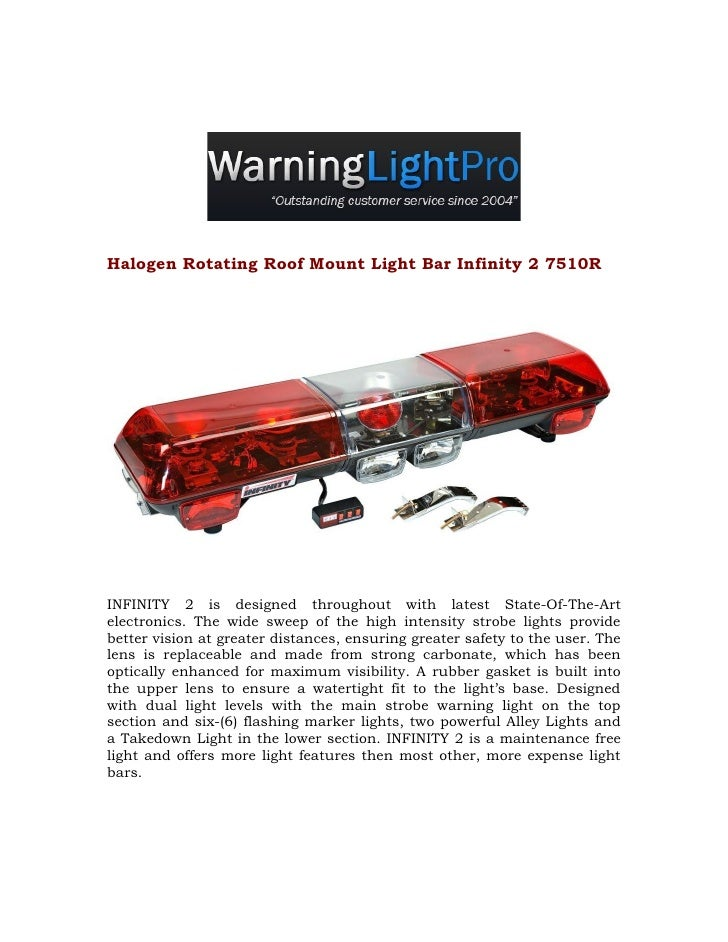 Halogen Rotating Roof Mount Light Bar Infinity 2 7510R     INFINITY 2 is designed throughout with latest State-Of-The-Art ...