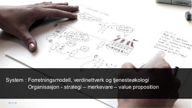 System : Forretningsmodell, verdinettverk og tjenesteøkologi         Organisasjon - strategi – merkevare – value propositi...